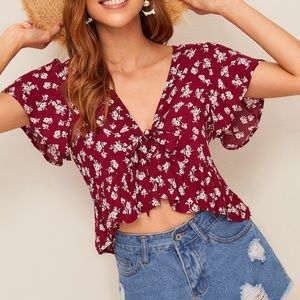 SHEIN Red Floral Tie Front Top Size L
